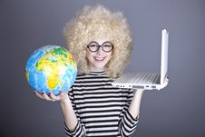 Free Funny Girl In Glasses Keeping Notebook And Globe. Royalty Free Stock Photos - 16883778