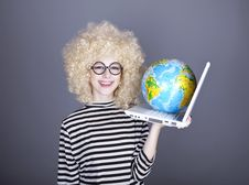 Free Funny Girl In Glasses Keeping Notebook And Globe. Royalty Free Stock Photography - 16883787