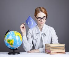 Free The Young Teacher In Glasses With Books And Globe Stock Image - 16883971