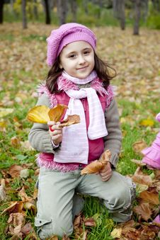 Free Cute Girl In Autumn Park Royalty Free Stock Images - 16884089