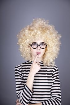 Free Portrait Of Funny Girl In Blonde Wig. Royalty Free Stock Photos - 16884248