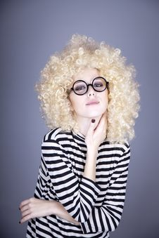 Free Portrait Of Funny Girl In Blonde Wig. Stock Image - 16884261