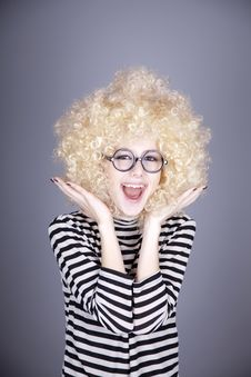 Free Portrait Of Funny Girl In Blonde Wig. Stock Photography - 16884272