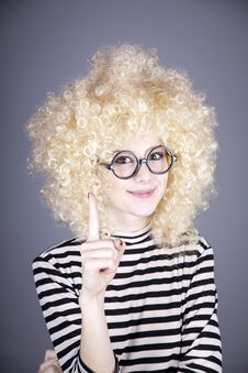 Free Portrait Of Funny Girl In Blonde Wig. Stock Photography - 16884292