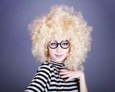 Free Portrait Of Funny Girl In Blonde Wig. Stock Photo - 16884300