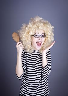 Free Surprised Girl With Comb. Stock Photos - 16884363