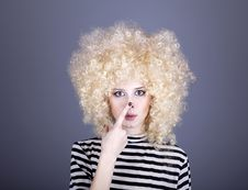 Free Portrait Of Funny Girl In Blonde Wig. Stock Image - 16884481