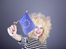 Girl With Show European Union Flag. Royalty Free Stock Photo