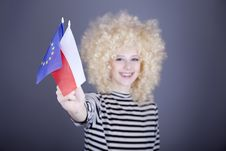 Free Girl With European Union And Poland Flag. Stock Images - 16884524