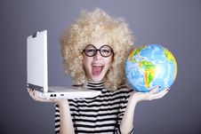 Free Funny Girl In Glasses Keeping Notebook And Globe. Stock Image - 16884731