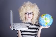 Free Funny Girl In Glasses Keeping Notebook And Globe. Royalty Free Stock Photography - 16884747