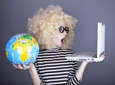 Free Funny Girl In Glasses Keeping Notebook And Globe. Royalty Free Stock Photography - 16884757
