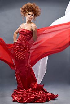 Free Beauty Redheaded Girl In Fashion Dress Stock Photos - 16885713