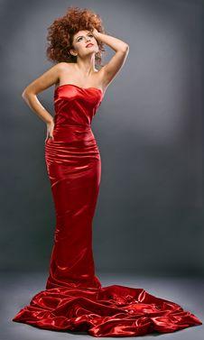 Free Beauty Redheaded Girl In Fashion Dress Stock Photos - 16885743