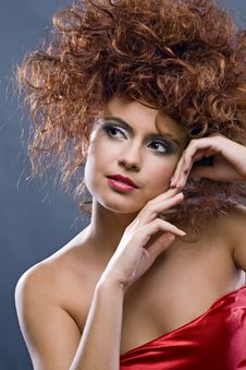 Free Beauty Redheaded Girl In Fashion Dress Royalty Free Stock Images - 16885749