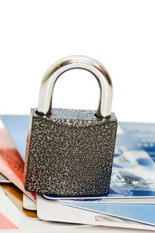 Credit Card And Lock - Security Concept Stock Photo