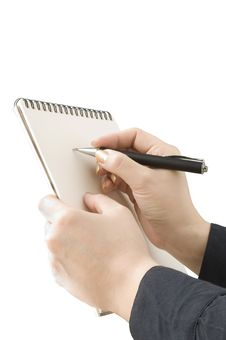 Hand Keep Notebook And Other Hand Keep Pen And Wri Royalty Free Stock Photography