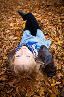 Free Girl In Autumn Park Royalty Free Stock Image - 16888896