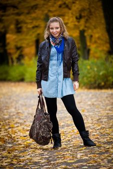 Free Girl In Autumn Park Royalty Free Stock Photo - 16888965