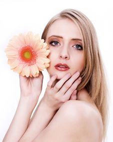 Free Young Beautiful Woman Face With Flower Royalty Free Stock Image - 16889616