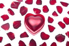 Free Red Heart In Box And Petals On White Stock Photo - 16889700