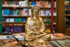 Free A Golden Buddha Statuette Among Yoga Magazines Royalty Free Stock Photography - 16889717