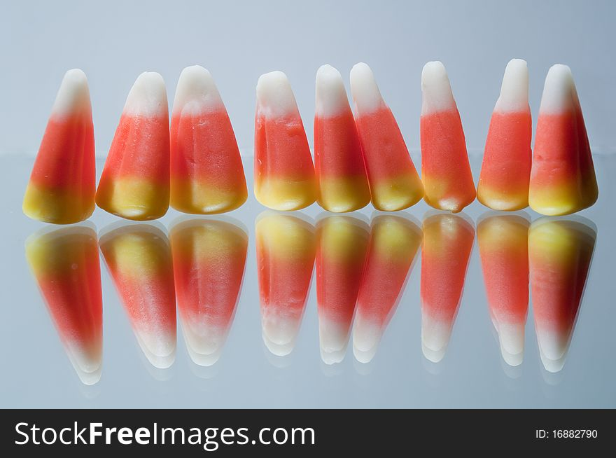 Candy corn in a row