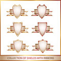 Free Colection Of Shields With Ribbons Royalty Free Stock Photography - 16893797