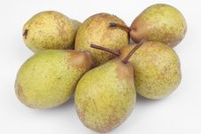 Free Fresh Bunch Of Pears Over White Royalty Free Stock Photography - 16890007