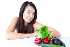 Free Young Girl With  Vegetables Royalty Free Stock Images - 16890349