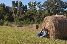 Free Mature Man And Hay Stack Stock Photo - 16890450