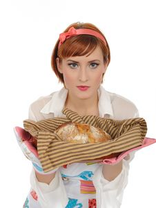 Free Beautiful Cooking Woman And Homemade Bread Stock Images - 16890874