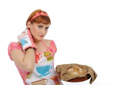 Free Beautiful Cooking Woman And Homemade Bread Royalty Free Stock Image - 16890936