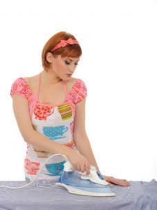 Free Beautiful House Woman Ironing Mens Shirt Stock Images - 16890954