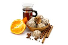 Tea, Orange, Spices  And Spice-cakes Stock Photos