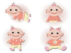 Free Set Icons With Baby Girls Royalty Free Stock Images - 16892009