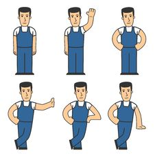 Mechanic Character Set 01 Stock Images