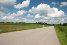 Spring Landscape With Country Road In Bavaria Royalty Free Stock Photography