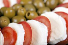 Mozzarella, Tomatoes And Olives Stock Photography