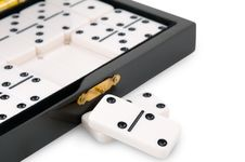 Casket With Dominoes Stock Photo
