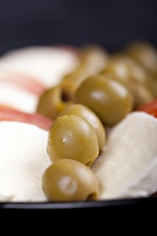 Mozzarella, Tomatoes And Olives Stock Images