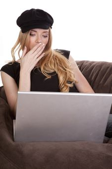 Free Woman Tired Black Hat Computer Stock Photography - 16893042