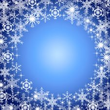 Snowflakes On A Dark Blue Background. Royalty Free Stock Photo
