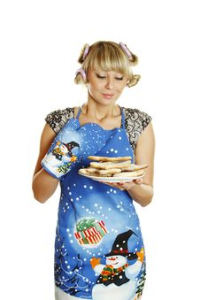 Free Woman Prepared Cookies For Xmas Royalty Free Stock Images - 16893229