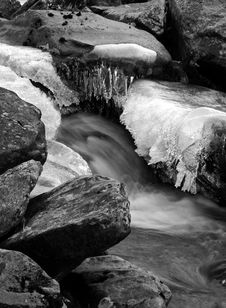 Free Fast Flowing Stream In Winter Royalty Free Stock Image - 16894536
