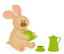 Free Bunny With  Cups And Tea-pot Stock Photo - 16895140