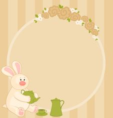 Free Bunny With  Cups And Tea-pot Royalty Free Stock Photos - 16895148