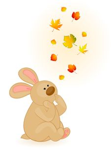 Free Bunny With Autumnal Leaves Royalty Free Stock Image - 16895166