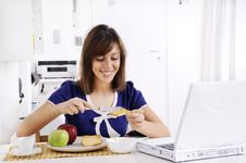 Free Breakfast Of Young Woman Royalty Free Stock Photo - 16895205