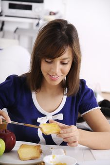 Free Breakfast Of Young Woman Stock Images - 16895214